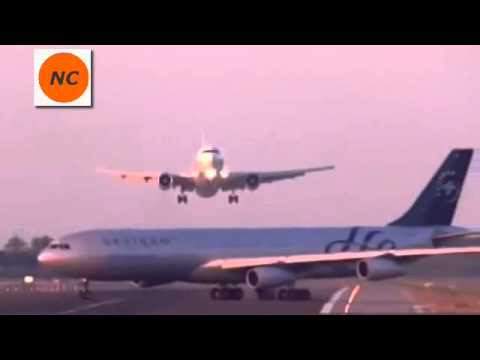 Dramatic moment two planes almost collide on runway at Barcelona airport