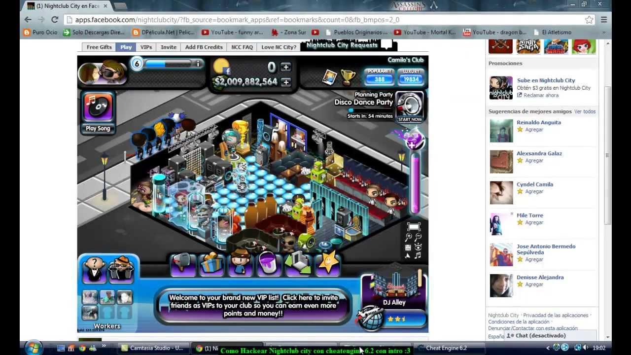 hackear Nightclub city y otros juegos de facebook con Cheat Engine 6