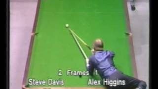 Unusual shot by Alex Hurricane Higgins to beat Steve Davis - Snooker