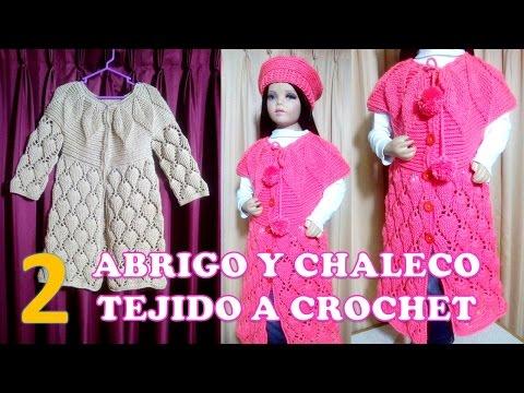 ABRIGO, SUÉTER Y CHALECO (parte 2) PARA NIÑAS DE 6 A 9 AÑOS TEJIDO  A CROCHET PASO A  PASO