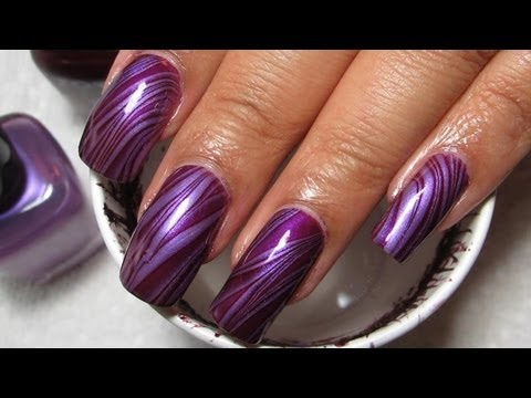 Purple Stripes Water Marble Nail Art Tutorial Manicure May 3 No Blog
