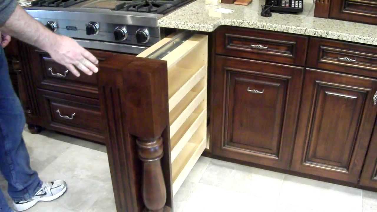 Hidden spice rack in custom kitchen cabinet youtube for A 1 custom cabinets