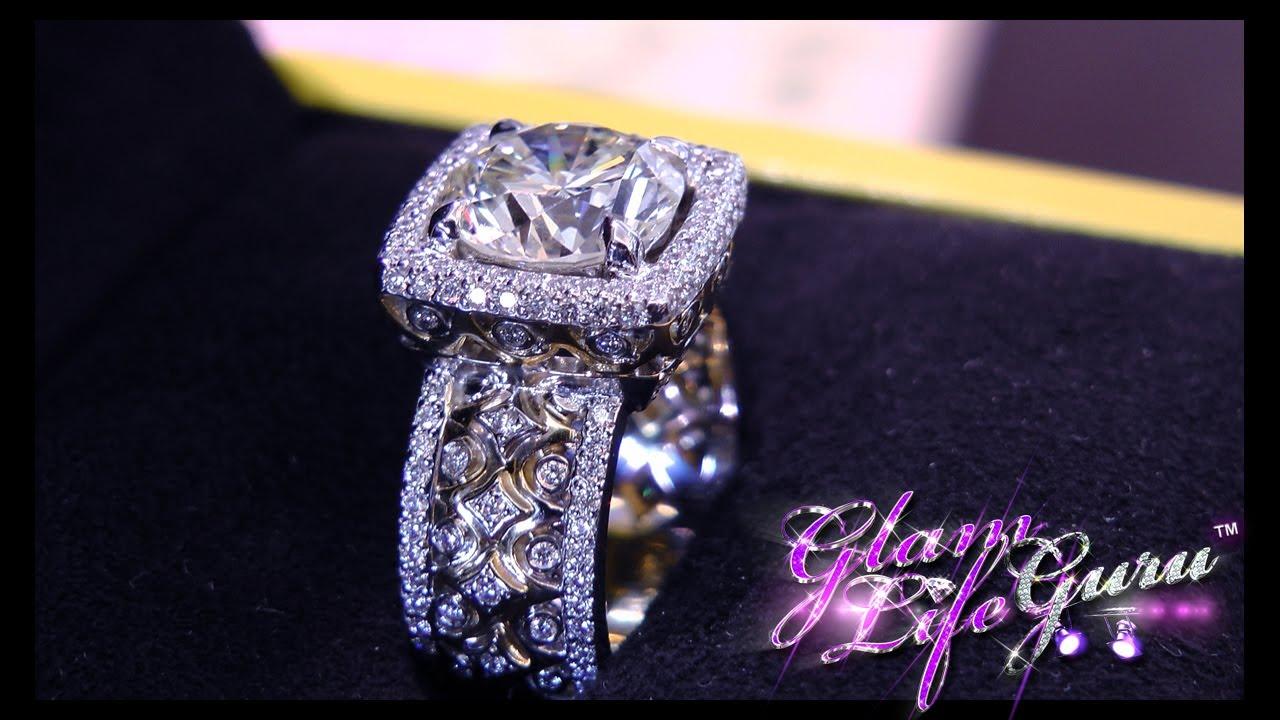 14K 585 White Gold 3 Carat ct Center 9mm F Color Round Brilliant Lab Grown Moissanite Diamond