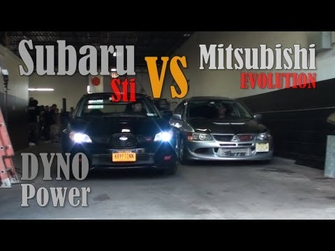 Mitsubishi EVO vs Subaru Sti Dyno Power Ride