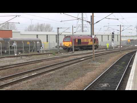 DB skip 67021 arrives light engine into Doncaster West yard from the north