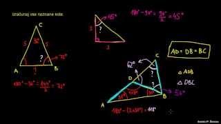Ugotavljanje kotov v trikotniku – primeri