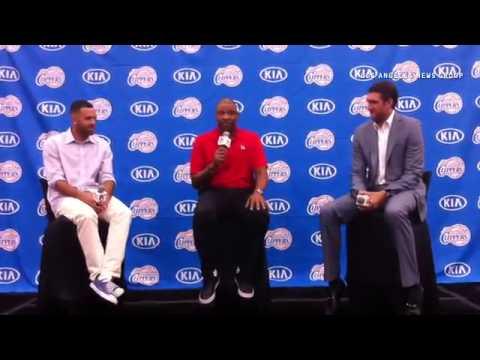 LA Clippers head coach Doc Rivers introduces Jordan Farmar and Spencer Hawes