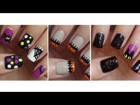 Halloween Nails Three Easy Designs!!!