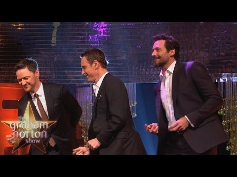 "Michael Fassbender, Hugh Jackman & James McAvoy Dance to ""Blurred Lines"" - The Graham Norton Show"