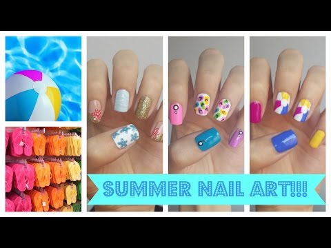 Summer Nail Art!!! Three Easy Ideas |Nyári körmök