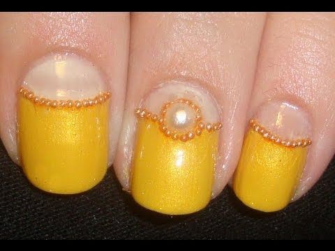 Simple Gold Jewel Nail Art Nail Designs Video