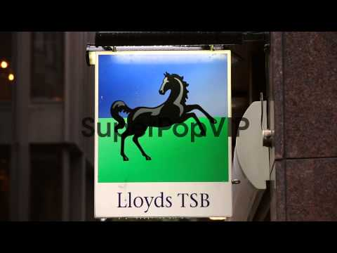 Panning Shot, Lloyds TSB signage at London branch.