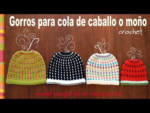 Gorro para cola de caballo o moño tejido a crochet en 4 tallas! Tejiendo Perú