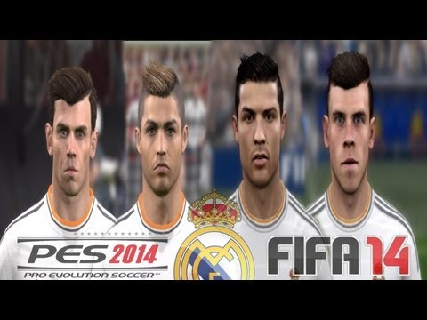 PES 2014 vs FIFA 14 FACE Comparison REAL MADRID (Ronaldo, Bale) Faces