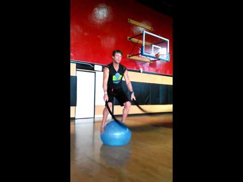 Balance Ball and Battle Rope training