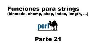 Perl tutorial. Parte 21