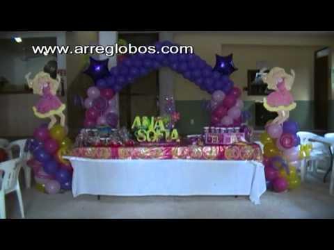 Decoración con globos barbie www.arreglobos.com