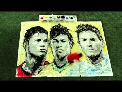 World Cup 2014 Art - Ronaldo, Neymar and Messi Portraits by Red Hongyi