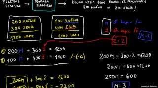 Primer rešavnja sistema dveh enačb