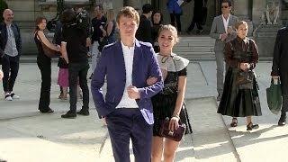 Ansel Elgort and Violetta Komyshan at Valentino Fashion Show in Paris