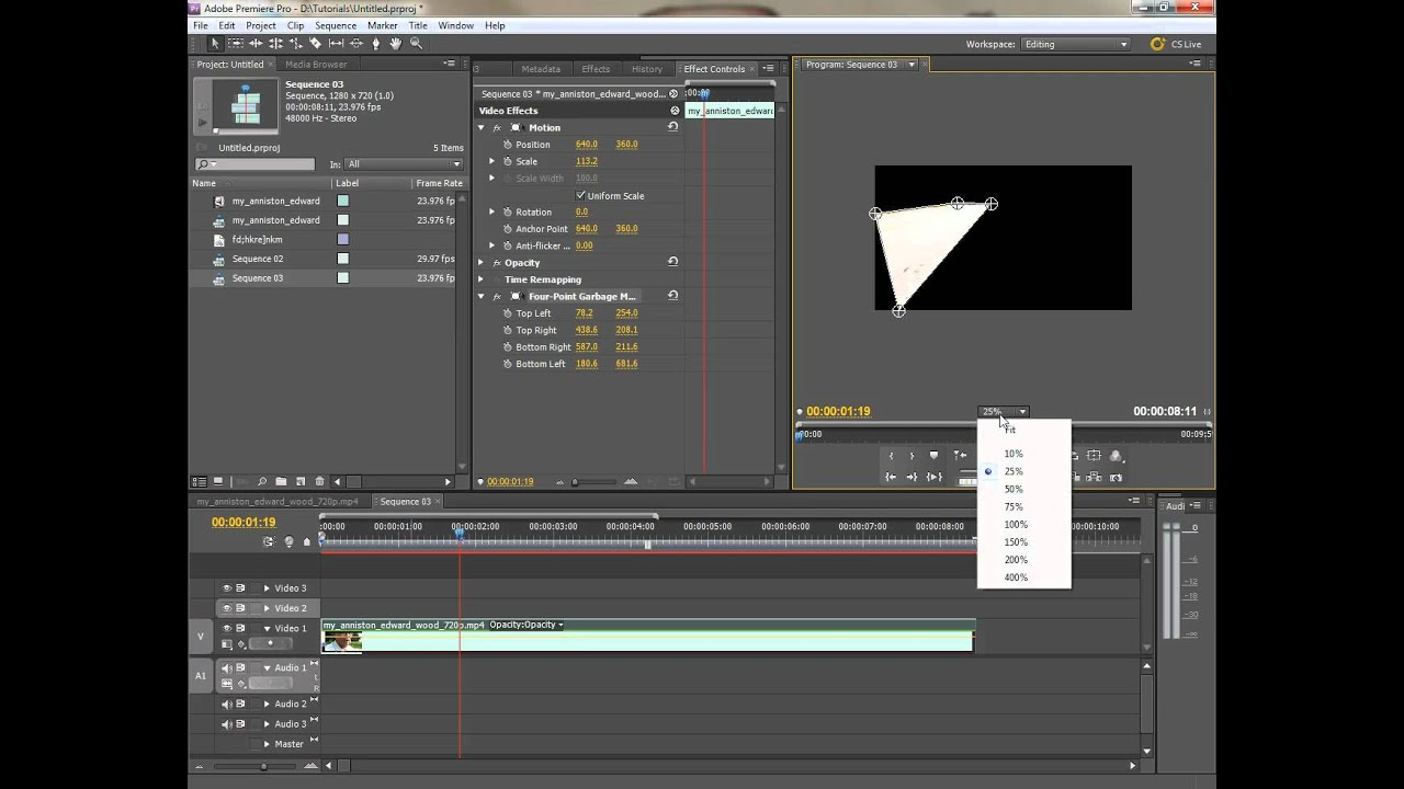 Premiere Pro: Quick Demo of the 4-point Garbage Matte