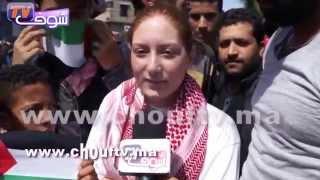 فلسطينيون يحيون الشعب المغربي من قلب الدارالبيضاء   خارج البلاطو