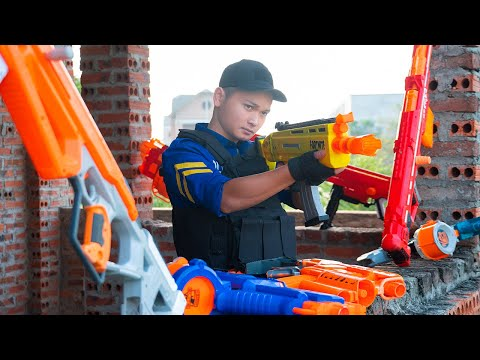 Battle Nerf War: Blue Police Nerf Guns Two Super Thieves Funny Nerf