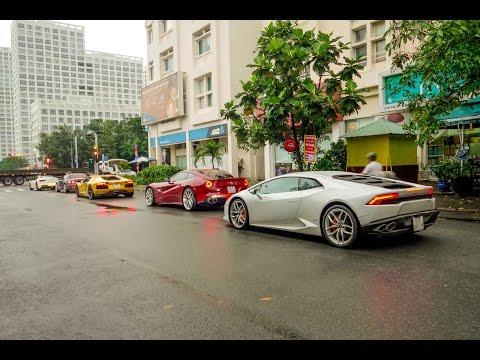 Xem dàn siêu xe Lamborghini Ferrari Cường Đô La nẹt pô, đua tốc độ cực cao tại Quận 7