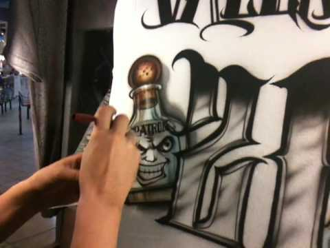 How to airbrush a 21st birthday t-shirt by Jaime Rodriguez. part 3