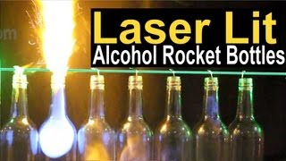 Laser Lit Alcohol Rocket Bottles with 100mW Spyder III Krypton Laser by Wicked Lasers