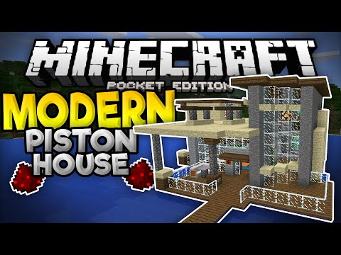 MODERN PISTON HOUSE in MCPE!!! - 15+ Epic Redstone Creations Inside! - Minecraft PE (Pocket Edition)