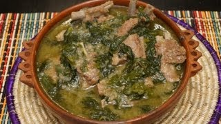 Ethiopian Food - Lamb & Spinach recipe (Gomen be Sega)