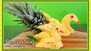 Art In Pineapple Show Fruit Carving Yellow Duck Garnish