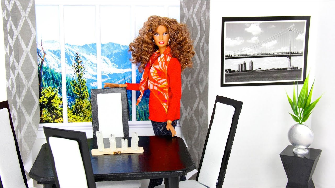 How to make a doll dining room table chair set doll for Dining room tables you tube