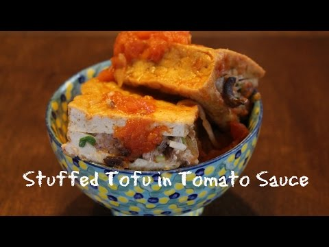 Vietnamese Stuffed Tofu in Tomato Sauce   Dau Hu Nhoi Thit Sot Ca   Phuong Le   Episode 3