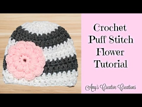 Crochet Puff Stitch Flower Tutorial