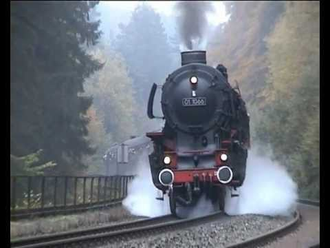 German steam locomotives 01 1066 and 41 018 on 2.5% Schiefe Ebene grade, 1st run -YEFIX3JzXog