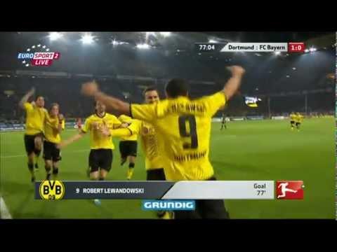 Gol Roberta Lewandowskiego w meczu Borussia Dortmund- Bayern Monachium (1:0) PL