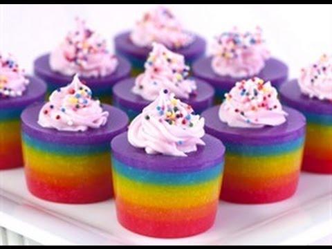 How to Make Double Rainbow Cake Jelly Shots! (video) - YouTube