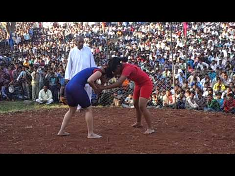 Antimbala red VS Arpana Bishnoi blue Wrestling Competition Manpur  Women Keshari Village   Manpur, Tehsil   Mhow, Dist   Indore, Date   05 12 2012 Aparna had won the fight Bayfal