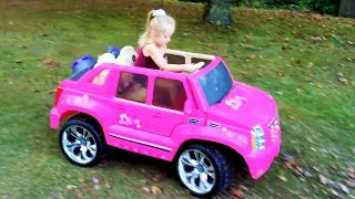 Playing in the Park on the Pirate Ship Playground for Kids W Pink Car  Baby Alive Snackin Sara Doll