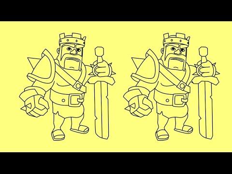 Как поэтапно нарисовать короля варваров из clash