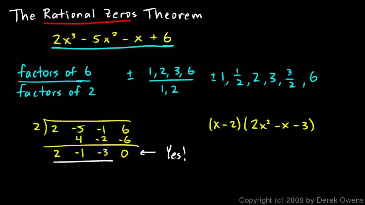 Algebra 2 6.07a - The Rational Zeros Theorem, Part 1 - YouTube