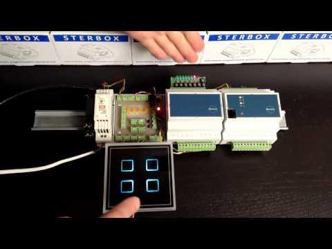 INTELIGENTNY DOM wyłącznik dotykowy panel podłączony do sterownik PLC STERBOX