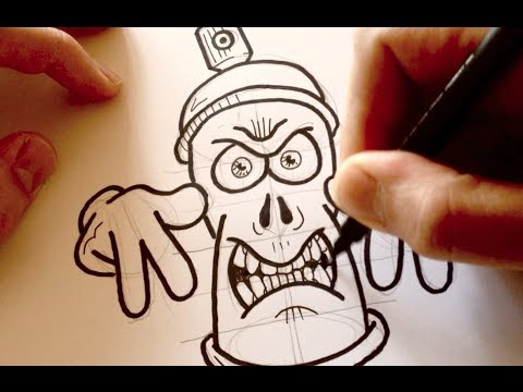 Drawing a Cartoon Angry Graffiti Spraycan - Desenhando uma Lata de Tinta Mal-Encarada