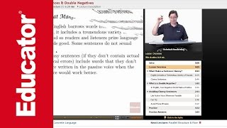 """Clumsy Sentences & Double Negatives""   Advanced English Grammar with Educator.com"