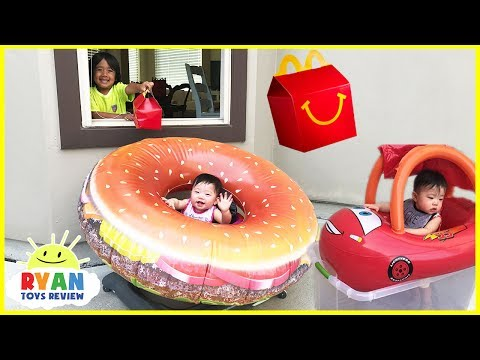 McDonalds Drive Thru Prank Twin Babies Giant Hamburger Ride on Car Disney Cars Lightning McQueen