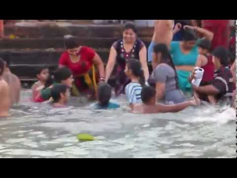 girls enjoing bath in haridwar- ganges