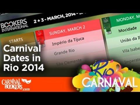 Carnival Dates in Rio de Janeiro 2014