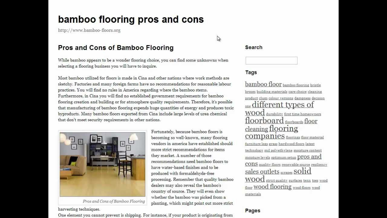 bamboo flooring pros and cons - YouTube